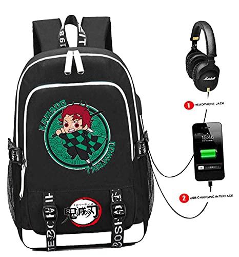 Electrical Shopping Zaino per Laptop da Viaggio per Il Tempo Libero con Ricarica USB per Cuffie Orali Zaino per Jack Anime Devil Slayer Tanjirou,7~15 Anni,C7,44x30x15CM