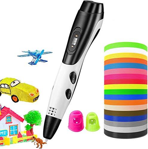 TOPELEK 3D Penna Stampa, Schermo LED,Ricarica USB, 3 velocità Regolabile,Penna 3D Professionale con 18 Filamenti 2M PLA, Compatibile con PLA/ABS,Regalo per Bambini, Artista e Adulti