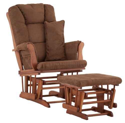 Stork Craft Custom Tuscany Cognac Finish Glider and Ottoman with Free lower lumbar pillow, Chocolate Cushions