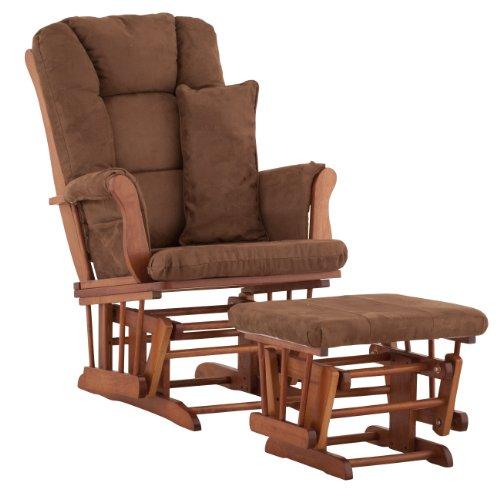 Stork Craft Custom Tuscany Cognac Finish Glider and Ottoman with Free lower lumbar pillow, Chocolate Cushions
