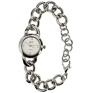 Eton Ladies Silvertone Dial, Chunky Curb Chain Bracelet Strap Watch 3192J