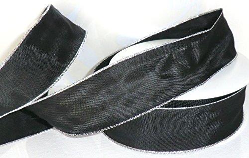 Trauerband 25m x 40mm SCHWARZ - Silber Dekoband Schleifenband Trauerschleife [5121]