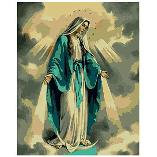 Zhxx Pintar Por Numeros Adultos Kit Santa Estrella De La Virgen Figura Lienzo Decoración De La Boda Imagen Del Arte Regalo Con Marco 40X50Cm