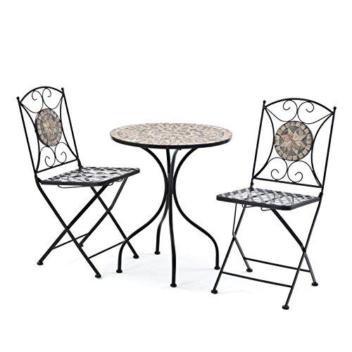 Tunis Mosaic Cast Iron Garden Patio Bistro Furniture Set