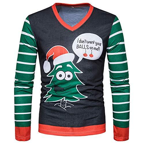 OverDose Damen Pullover Bluse Männer Weihnachten Weihnachten Weihnachtsmann Cosplay Party Dating Schlank Druck Top Männer langärmelige T-Shirt Bluse Für Herbst Winter(Grün,48 DE/XL CN)