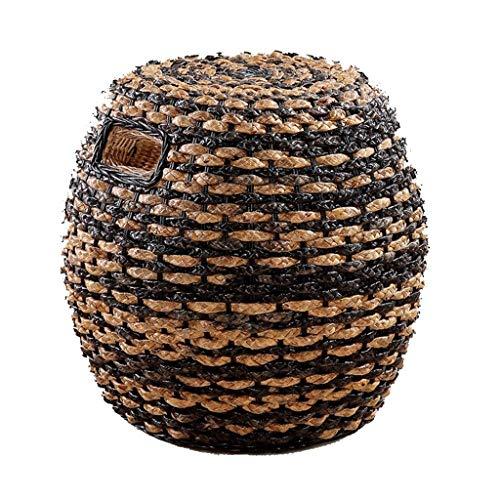 YWSZJ Verdadero Taburete de ratán Muelle de ratán Creativo Seaweed Rattan Taburete Taburete Silla de ratán Taburete de ratán Taburete de Tambor de Ocio (Color : B)
