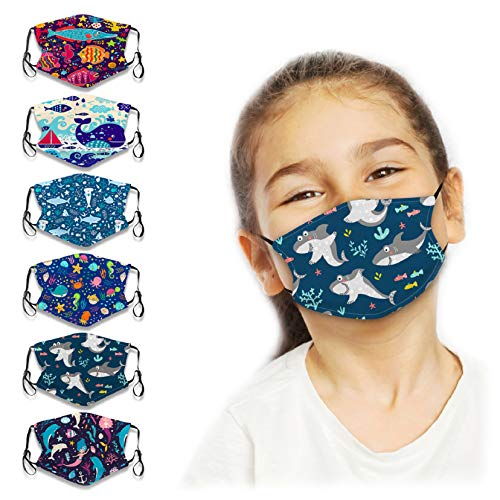 Kids Reusable Face Bandanas Cute Cartoon Fish Breathable Cloth Face Covering with Adjustable Ear Loops for Children