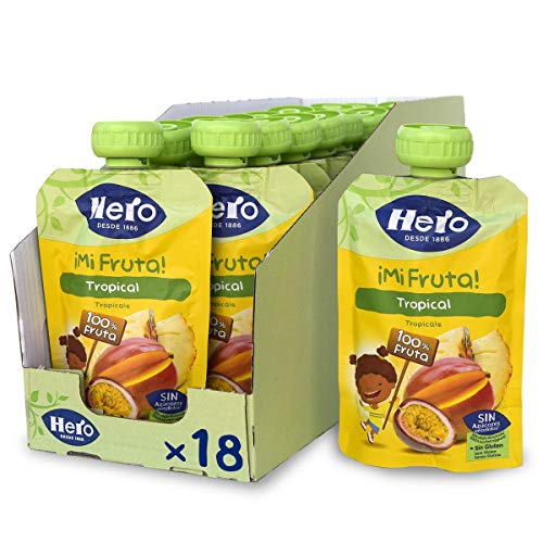 Hero Baby Mi Fruta Bolsitas de Fruta sabor Tropical - Para Bebés a Partir de los 12 Meses - Pack de 18 x 100 g