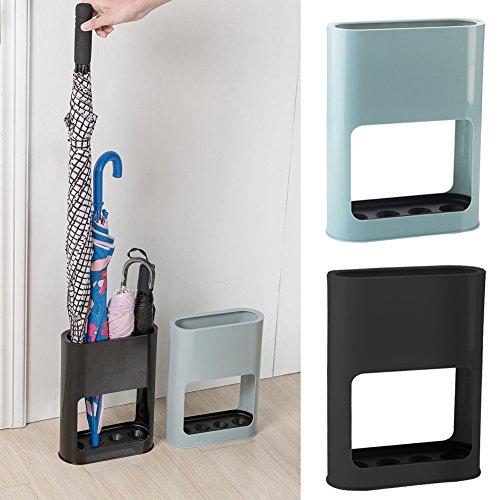 Yunhigh paragüero de Interior con Bandeja de Goteo de plástico para el hogar Estante de pie de paragüero para Bastones de pie Negro