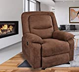 BINGTOO Power Recliner Chair with Heat and Massage, Linen Electric Recliner Sofa Chairs with USB Port for Elderly, Adults (Brown)