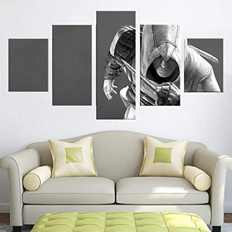 BOYH 5 Stück Drucke auf Leinwand Assassins Creed Game Poster HD Wall Art Home Decor
