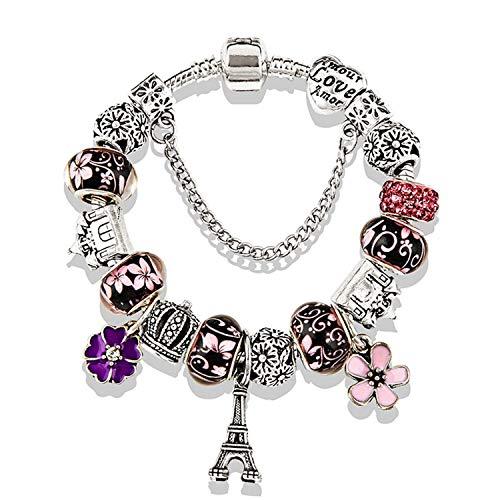 Pulsera Brazalete, Joyeria Regalo, New Antique Silver Color Eiffel Tower Pan Charm Bracelet Crystal Flower Bead Bracelets & Bangles For Women Jewelry Gift Pink Bracelet 20CM (7.9 Inch)