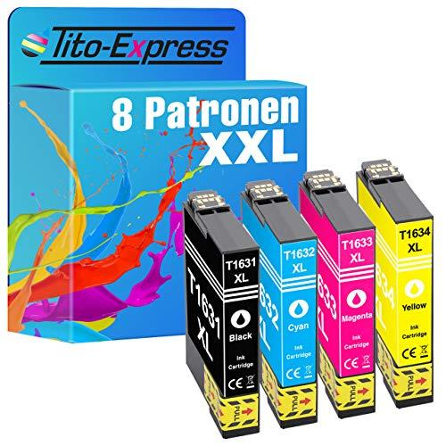 Tito-Express Juego de 8 cartuchos de tinta compatibles con Epson 16XL T1631-T1634 con 18 ml negro y 18 ml por color XXL, WF-2010 W WF-2500 Series WF-2510 WF WF-2520 NF WF-2530 WF WF-2540 WF
