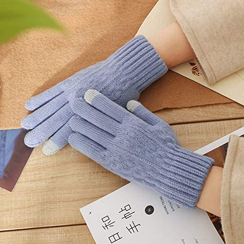 JBIVWW Gloves Winter Knitting Warmth Thickening Cold-Proof Fluff Riding Five-Finger Mobile Phone Game Touch Screen Women's Gloves (Color : Light Blue)