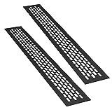 sossai® Rejillas de ventilación de aluminio - Alucratis (2 piezas) | Rectangular - dimensiones: 48 x 6 cm | Color: negro | rejilla de aire