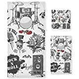LUPINZ Symbols Rock And Roll Toallas de mano toalla de cara toalla de baño juego de tres piezas
