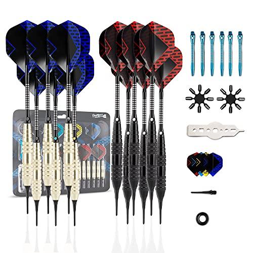 DartPro Fléchettes avec pointe en plastique - 12 fléchettes pour cible électronique [18g] - Jeu de fléchettes professionnel [incl. 6 tiges + 21 ailettes]