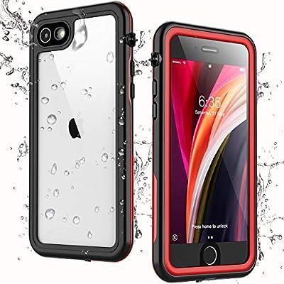 Singdo iPhone SE 2020 Waterproof Case,iPhone 7/8 Waterproof Case, Built-in Screen Protector Full Body Heavy Duty Shockproof IP68 Waterproof Case for iPhone SE 2020/7/8 4.7 inch (Red)