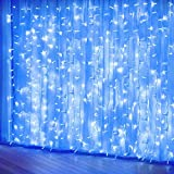 Blue Curtain Lights, 8 Modes Fairy String Lights, Window and Wall Decorations for Garden, Room