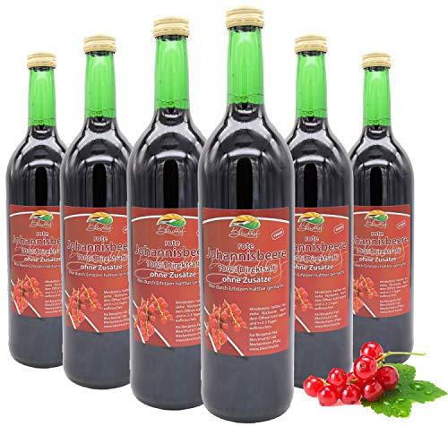 Bleichhof Roter Johannisbeersaft - 100% Direktsaft, vegan, OHNE Zuckerzusatz, 6er Pack (6x 0,72l)