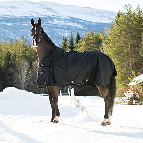 horze Nevada Winterdecke Weidedecke für Pferde mit 1200D Ripstop und Schwerer 400g Füllung, Wasserdicht und Winddicht, Großer Schweiflatz, Größe 75-165, Schwarz, Schwarz, 145