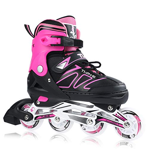 Adjustable Inline Skates for Girls and Boys with Light up Wheels Beginner Skates Safe and Durable Inline Roller Skates for Kids and Adults, Men and Women Pink Size 6