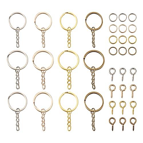 Beadthoven - 120 llaveros divididos con cadena, 120 unidades, 120 unidades, anillos de salto para hacer llaveros, para hacer joyas, 4 colores