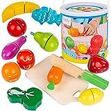 Kinderplay Lebensmittel Holz Obst, Gemüse, Früchte zum Schneiden - Kinder Spielzeug, Magnetspielzeug, Schneideobst, 14-teiliges Lebensmittel Spielset, KP1684