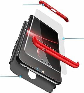 Jtailhne Kompatibel med Fodral Nokia X6 2018, 360° 3 i 1 hårt PC Tunn stöttåligt reptåligt Bumper case Röd & 2X HäRdat Gla...