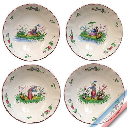 Lunéville 1730 Collection Chinois - Assiette Calotte - Diam 19 cm - Lot de 4