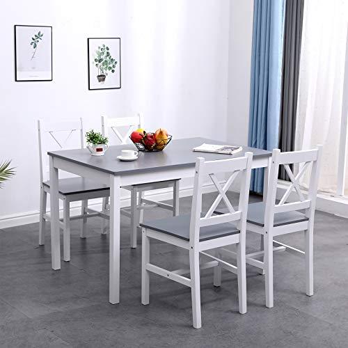 DlandHome Conjunto de Comedor 5 Piezas, Mesa de comedor con 4 sillas, Juego de Salón Comedor de pino, Muebles de Cocina