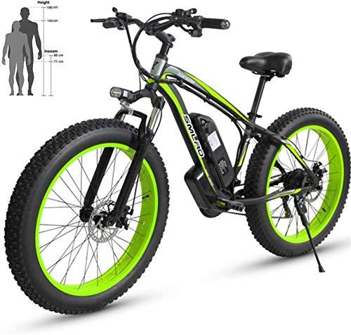 RDJM Bici electrica, Bicicleta eléctrica Beach 48V 26 '' Fat Tire Potente montaña Motor Nieve Ebike de aleación de Aluminio de Bicicletas (Color : Black Green, Size : 48V15AH)