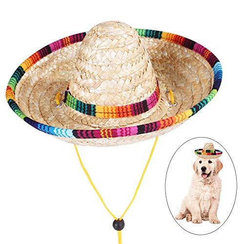 Huisdier Hoed, Mini Hond Sombrero Hoed Mexicaanse Stijl Strohoeden Hond Verjaardag Hoeden Kat Geweven Strohoed Hond Hoeden voor Kat Honden, M: 22*9*8cm