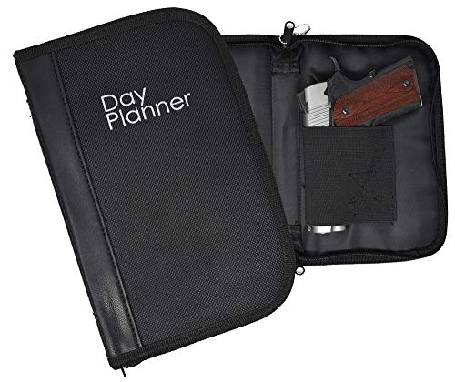 Garrison Grip Faux Leather & Canvas Locking Day Planner Gun Case for Compact & Subcompacts. Glock 26 27 33 39 42 43 Ruger LCR LC9 LCP S&W 380, Shield Taurus PT111