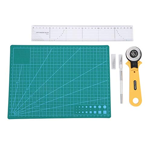 Maxmartt Fabric Leather Cutting Kit, Self Healing Cutting Mat with Rotary Cutter Tools for DIY Homemade Fabric Leather Cutting