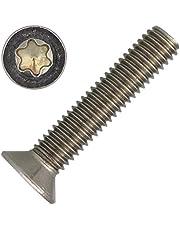 """10 tornillos avellanados M6 x 25 con ronda hexágono """"TX"""" - T30 DIN 965 de acero inoxidable A2."""