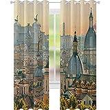 YUAZHOQI - Cortina de ventana con vistas a Roma desde Castel SantAngelo Italia histórico Vaticano Decorativas cortinas para sala de estar, 132 x 213 cm, color marfil y verde