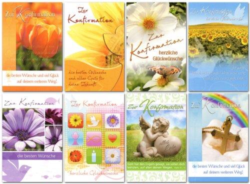 50 Glückwunschkarten zur Konfirmation Blumen Engel Motive Grußkarten 11-2210