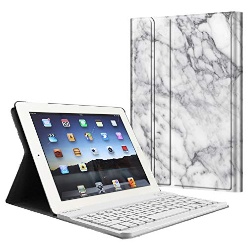 Fintie Keyboard Case for iPad 4th Generation with Retina Display, iPad 3 & iPad 2 (Old Model), Slim Lightweight Stand Cover with Magnetically Detachable Wireless Bluetooth Keyboard - Marble White