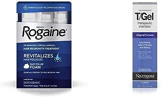 Men's Rogaine 5% Minoxidil Topical Hair Loss and Regrowth Foam, 3-Month Supply+Neutrogena T/Gel Original Therapeutic Shampoo,Flaky Scalp Due to Psoriasis & Seborrheic Dermatitis, 16 fl. Oz