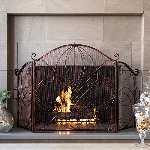 Best Choice Products 3-Panel 55x33in Solid Wrought Iron See-Through Metal Fireplace Screen, Spark Guard Safety Protector w/Decorative Scroll - Copper