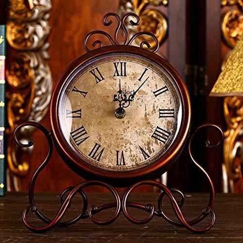 WANGXINQUAN Reloj de pared de hierro con diseño de bolígrafo y reloj de mesa antiguo