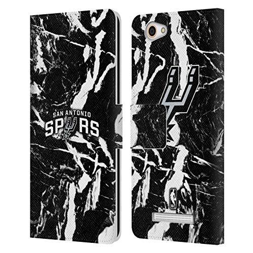 Head Case Designs Offizielle NBA Marmor 2019/20 San Antonio Spurs Leder Brieftaschen Huelle kompatibel mit Wileyfox Spark X