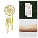 Tattify Gold Dreamcatcher Metallic Temporary Tattoo - Catch (Set of 2) - Other Styles Available - Fashionable Temporary Tattoos