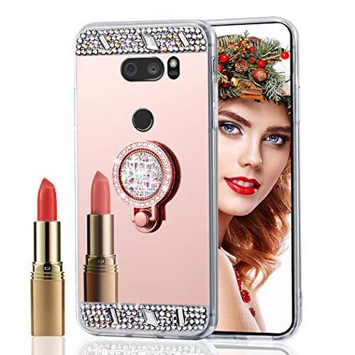 ISADENSER LG V30 Case Phone Case for LG V30 Ultra-Slim Glitter Bling Diamond Case Mirror Makeup Soft Cover with Ring Stand Holder for LG V30, Rose Gold Diamond TPU with Stand Holder