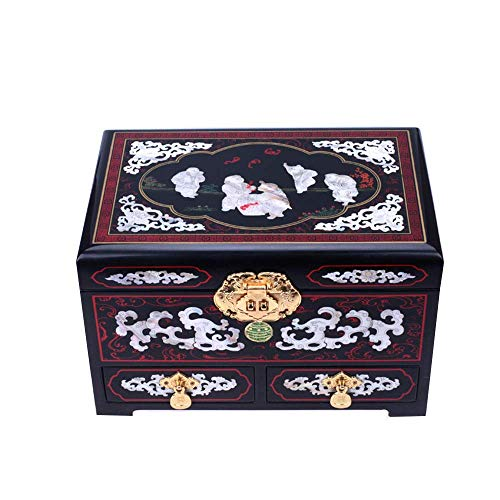 ALIANG Caja de Almacenamiento de Madera, Chino, artesanía, Caja de Almacenamiento de joyería, Caja de tocador, joyero