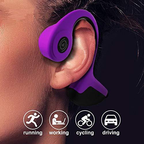 OH MY VAPOR Auriculares de conducción ósea Auricular inalámbrico Bluetooth 5.0 Deportes al Aire Libre Auriculares estéreo Manos Libres con micrófono(Morado)