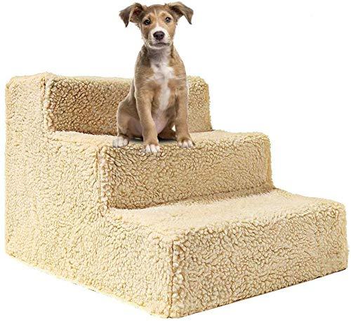 DUCHEN Treppen für kleine Hunde, mit Fleece-Plüschbezug, abnehmbarer Klettertritt, rutschfest, für alte Katzen und Hunde, 3 Stufen, einfaches Klettern