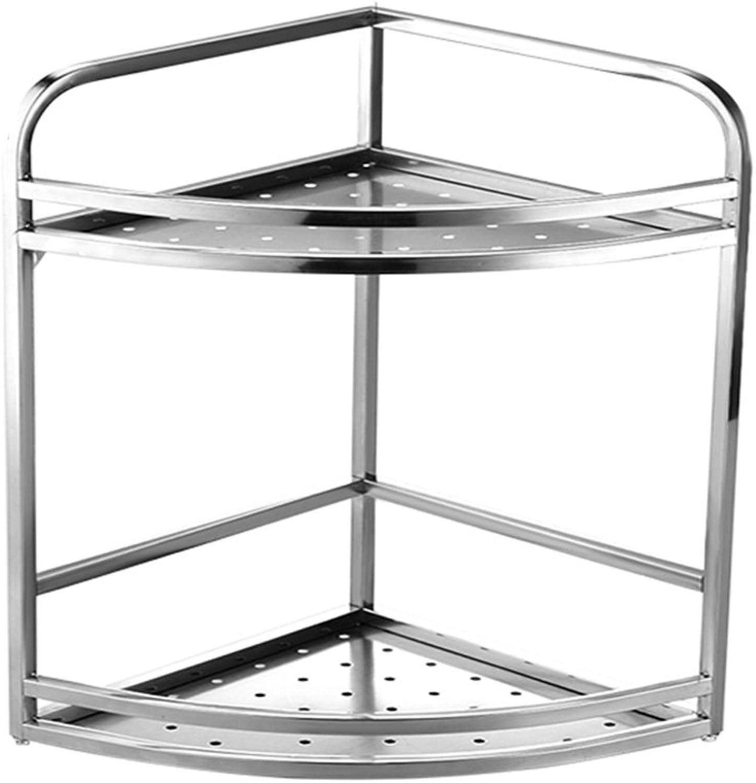 Stainless Steel Corner Seasoning Spice Rack Kitchenware Articles Shelf Wall Hanging (Size   2-Tier)