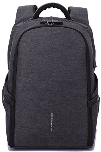 MUFUBU Presents Kaka Premium Quality Water Resistant Anti Theft Laptop Backpack with Zip Lock and USB Port - Color Black